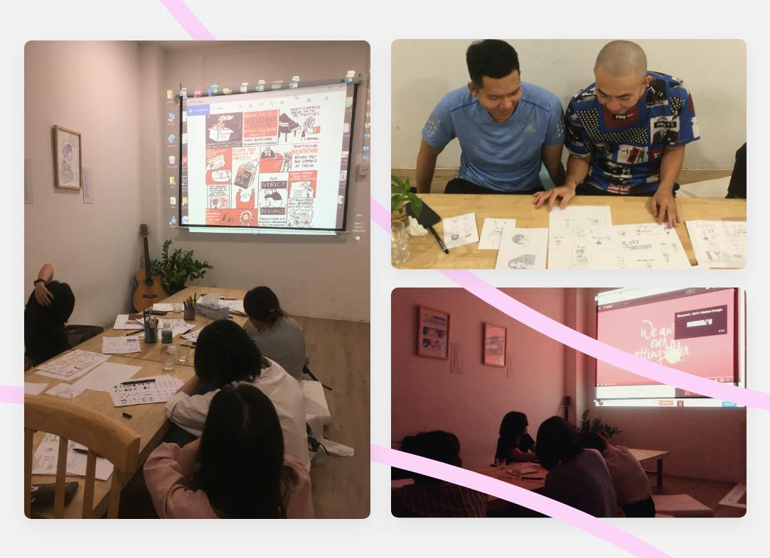 Hình một lớp học sketchnote của Vibeji host Nguyễn Minh Nam trong không gian sáng tạo, Vẽ Voi