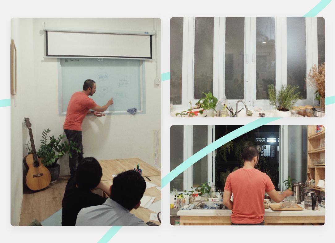 Hình chụp hoạ sỹ sketchnote và Vibẹi host Nguyễn Minh Nam trong không gian sáng tạo, Vẽ Voi